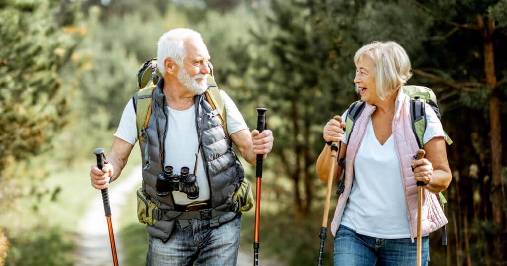 Seniors enjoying hike near their 55+ manufactured home community
