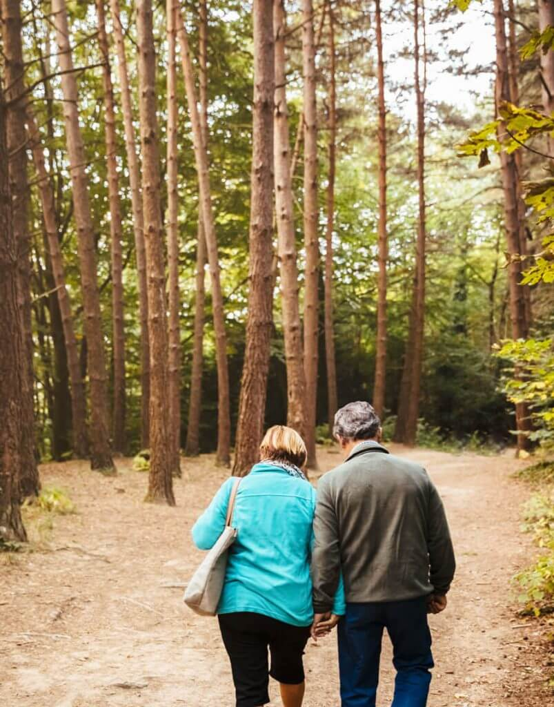 Seniors enjoy hike together near their retirement community in Oregon